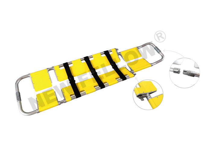 Yellow Emergency Detachable Aluminum Scoop Stretcher Folding Stretcher With Wheels
